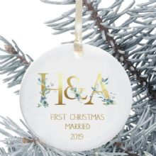First Christmas Married Keepsake Decoration - Floral Initials Design